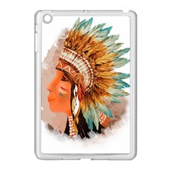 Native American Young Indian Shief Apple Ipad Mini Case (white) by TastefulDesigns