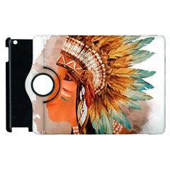 Native American Young Indian Shief Apple Ipad 3/4 Flip 360 Case