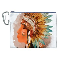 Native American Young Indian Shief Canvas Cosmetic Bag (xxl)  by TastefulDesigns