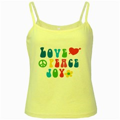 Love Peace And Joy  Yellow Spaghetti Tank