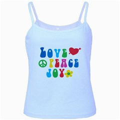 Love Peace And Joy  Baby Blue Spaghetti Tank