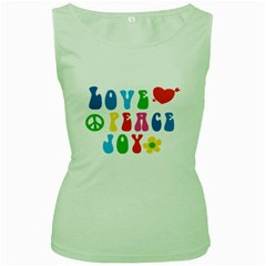 Love Peace And Joy  Women s Green Tank Top
