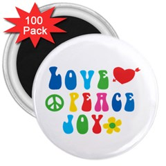 Love+peace+joy 3  Button Magnet (100 Pack)