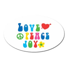 Love Peace And Joy Signs Magnet (oval) by TastefulDesigns