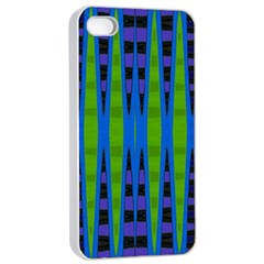 Blue Green Geometric Apple Iphone 4/4s Seamless Case (white) by BrightVibesDesign