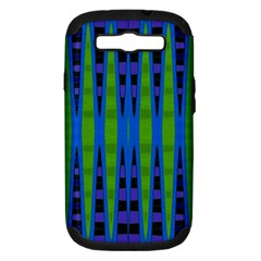 Blue Green Geometric Samsung Galaxy S Iii Hardshell Case (pc+silicone) by BrightVibesDesign