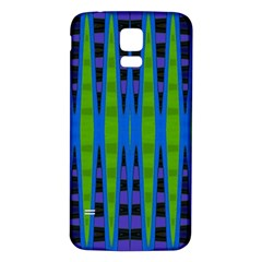 Blue Green Geometric Samsung Galaxy S5 Back Case (white) by BrightVibesDesign
