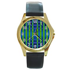 Blue Green Geometric Round Gold Metal Watch