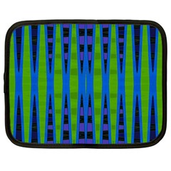Blue Green Geometric Netbook Case (large) by BrightVibesDesign