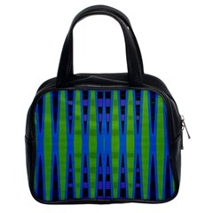 Blue Green Geometric Classic Handbags (2 Sides) by BrightVibesDesign