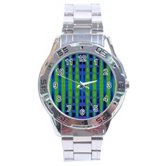 Blue Green Geometric Stainless Steel Analogue Watch by BrightVibesDesign