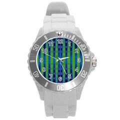 Blue Green Geometric Round Plastic Sport Watch (l)
