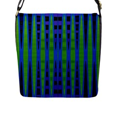 Blue Green Geometric Flap Messenger Bag (l)