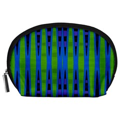 Blue Green Geometric Accessory Pouches (large)