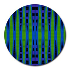 Blue Green Geometric Round Mousepads