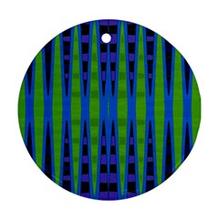 Blue Green Geometric Ornament (round)