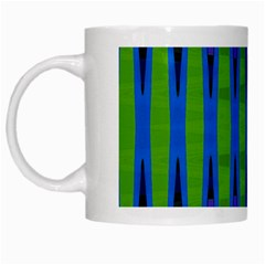 Blue Green Geometric White Mugs