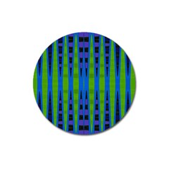 Blue Green Geometric Magnet 3  (Round) by BrightVibesDesign