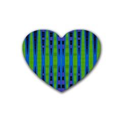 Blue Green Geometric Rubber Coaster (heart)