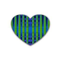 Blue Green Geometric Heart Coaster (4 Pack)