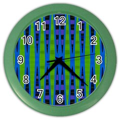 Blue Green Geometric Color Wall Clocks by BrightVibesDesign