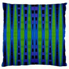 Blue Green Geometric Large Cushion Case (one Side)