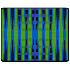 Blue Green Geometric Double Sided Fleece Blanket (medium)