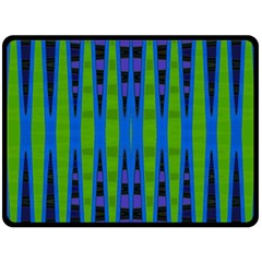 Blue Green Geometric Double Sided Fleece Blanket (large)  by BrightVibesDesign