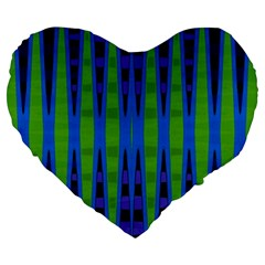 Blue Green Geometric Large 19  Premium Flano Heart Shape Cushions