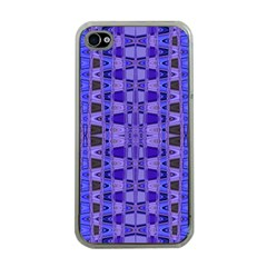 Blue Black Geometric Pattern Apple Iphone 4 Case (clear) by BrightVibesDesign