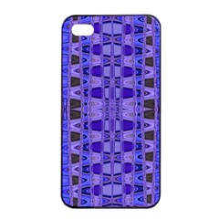 Blue Black Geometric Pattern Apple iPhone 4/4s Seamless Case (Black)