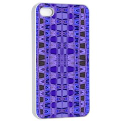 Blue Black Geometric Pattern Apple iPhone 4/4s Seamless Case (White)