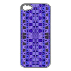 Blue Black Geometric Pattern Apple iPhone 5 Case (Silver)