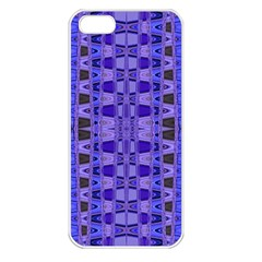 Blue Black Geometric Pattern Apple iPhone 5 Seamless Case (White)