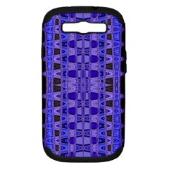 Blue Black Geometric Pattern Samsung Galaxy S III Hardshell Case (PC+Silicone)
