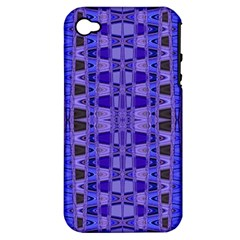 Blue Black Geometric Pattern Apple iPhone 4/4S Hardshell Case (PC+Silicone)
