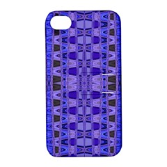 Blue Black Geometric Pattern Apple iPhone 4/4S Hardshell Case with Stand