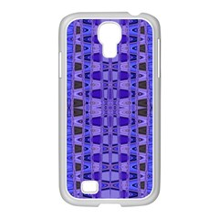 Blue Black Geometric Pattern Samsung GALAXY S4 I9500/ I9505 Case (White)