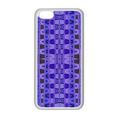 Blue Black Geometric Pattern Apple iPhone 5C Seamless Case (White)