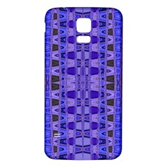 Blue Black Geometric Pattern Samsung Galaxy S5 Back Case (White)