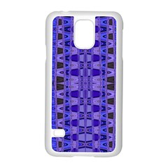 Blue Black Geometric Pattern Samsung Galaxy S5 Case (White)