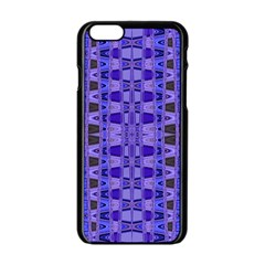 Blue Black Geometric Pattern Apple iPhone 6/6S Black Enamel Case