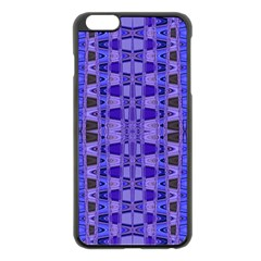 Blue Black Geometric Pattern Apple iPhone 6 Plus/6S Plus Black Enamel Case