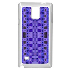 Blue Black Geometric Pattern Samsung Galaxy Note 4 Case (White)