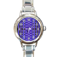 Blue Black Geometric Pattern Round Italian Charm Watch