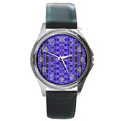Blue Black Geometric Pattern Round Metal Watch
