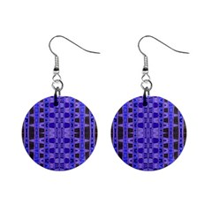 Blue Black Geometric Pattern Mini Button Earrings