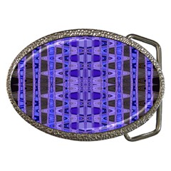 Blue Black Geometric Pattern Belt Buckles