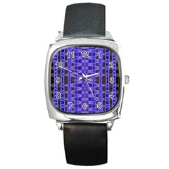 Blue Black Geometric Pattern Square Metal Watch