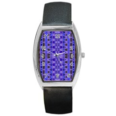 Blue Black Geometric Pattern Barrel Style Metal Watch